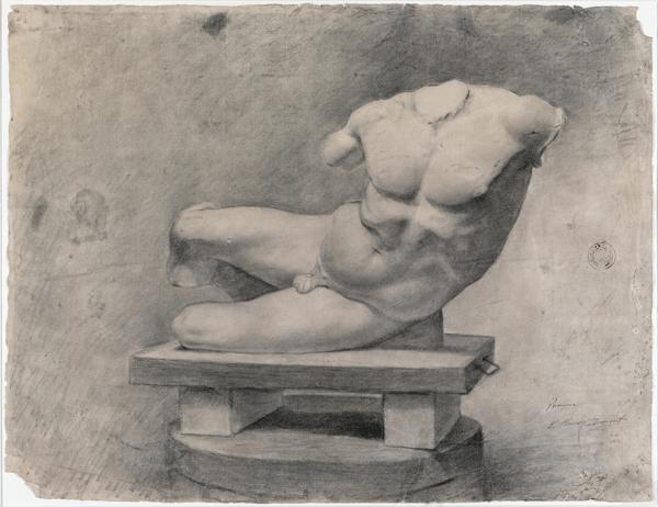 Picasso primeras obras, Estudio de torso (escultura del frontón del Partenón), 1895. Museu Picasso, Barcelona.