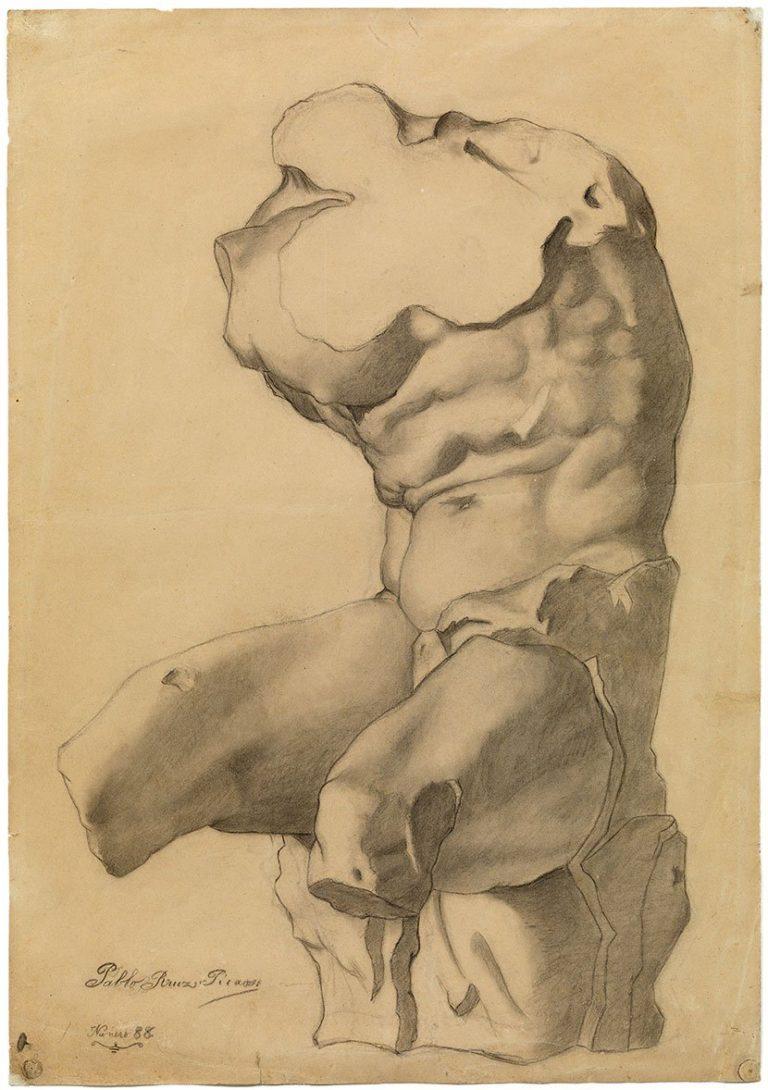 picasso periodos Picasso primeras obras, Estudio académico de torso (Belvedere), 1892-1893. Museu Picasso, Barcelona.