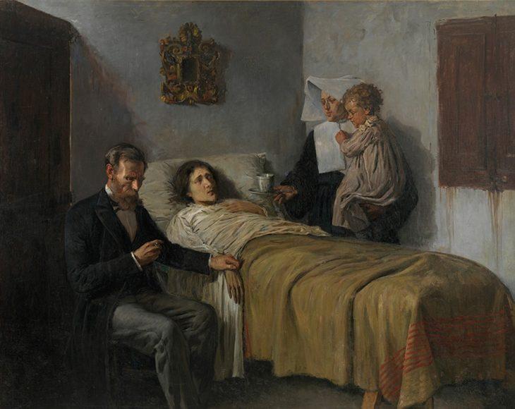 Pablo Picasso, Ciencia y caridad, 1897. Óleo sobre tela. 197 cm x 249,5 cm. Museu Picasso. Barcelona.