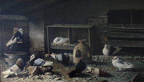 José Ruiz Blasco (padre de Picasso), Palomar, pintado en La Coruña.