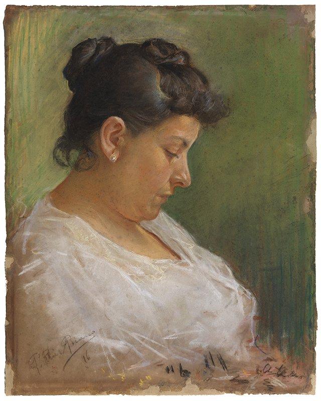 Picasso primeras obras, Retrato de la madre del artista, 1896, 49x39 cm. pastel. Museu Picasso, Barcelona.