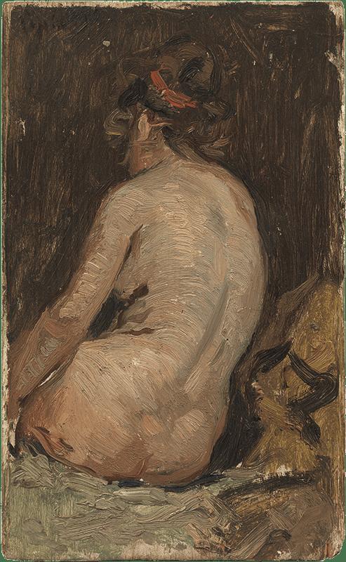 Pablo Picasso primeras obras. Desnudo de espaldas. Copia parcial de Estudio, de Arcadi Mas i Fontdevila. Barcelona, hacia 1895. Óleo sobre tabla. 22,3 x 13,7 cm.