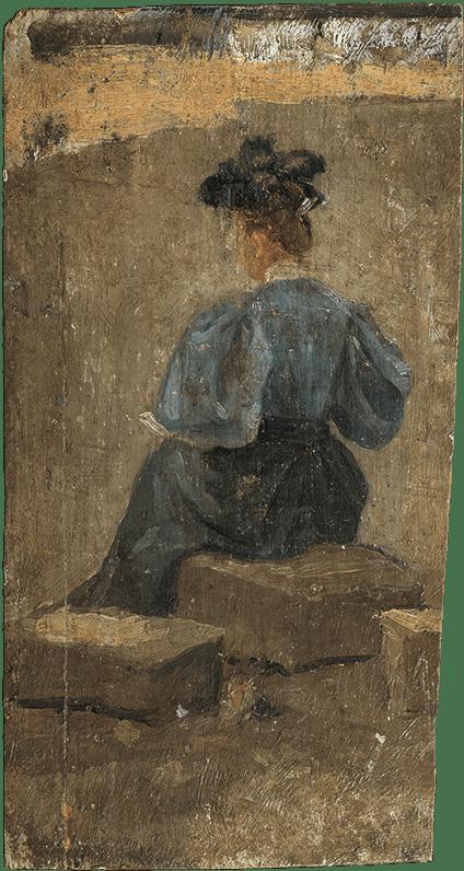 Pablo Picasso. Mujer sentada de espaldas, con sombrero