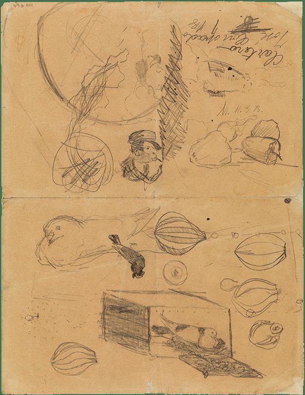 Pablo Picasso primeras obras. Palomas y otros dibujos. La Coruña, 1894. 26,4 x 20,2 cm.