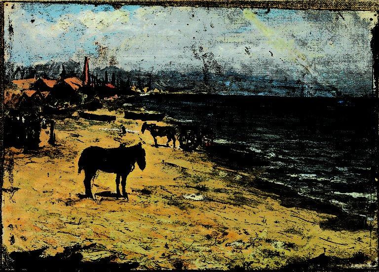 Pablo Picasso primeras obras. Playa de la Barceloneta. Barcelona, hacia1896. Óleo sobre tela. 24,4 x 34 cm.