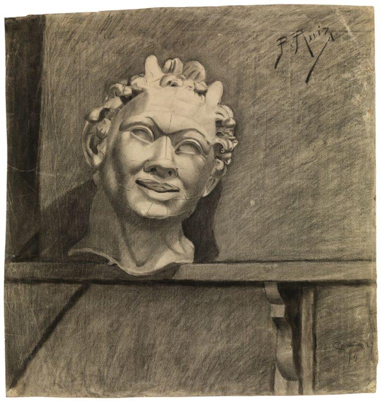 Picasso primeras obras, Cabeza de fauno (copia de un molde de yeso). Carboncillo y lápiz conté sobre papel, 50,5 x 48,3 cm (La Coruña, 1894). Museu Picasso, Barcelona.