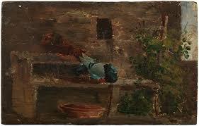 Pablo Picasso primeras obras. Palomar, 1895. Óleo sobre madera. 9,9 x 15,3 cm.