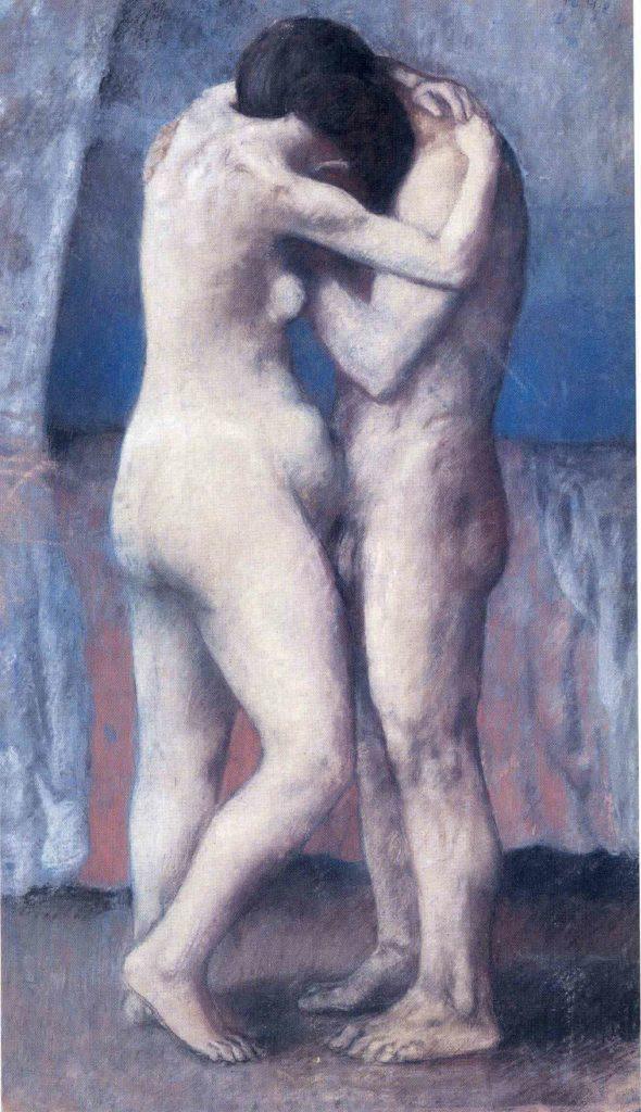 Picasso, El abrazo, 98×57 cm. 1903. Musee de l'Orangerie, Paris, France.