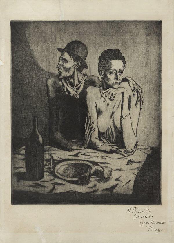 Picasso, La comida frugal, grabado, 1904.