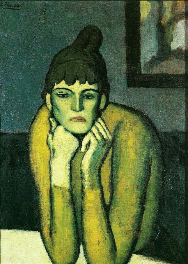 Periodo azul de Picasso, Mujer con moño, 1901.