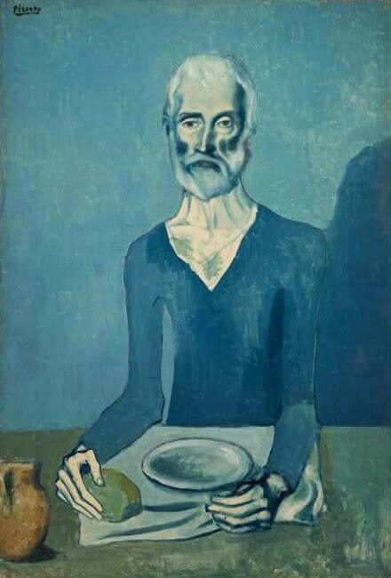 Periodo azul de Picasso, El viejo guitarrista ciego, 121×92 cm. 1903.