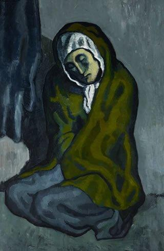 Picasso, La Misereuse Accroupie (La pobreza agazapada), 1902.