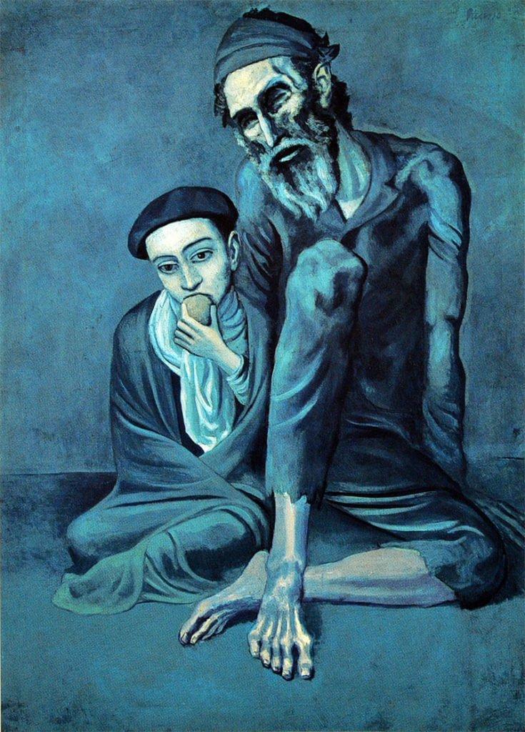 Picasso, El viejo judío (o Viejo y niño), 1903.