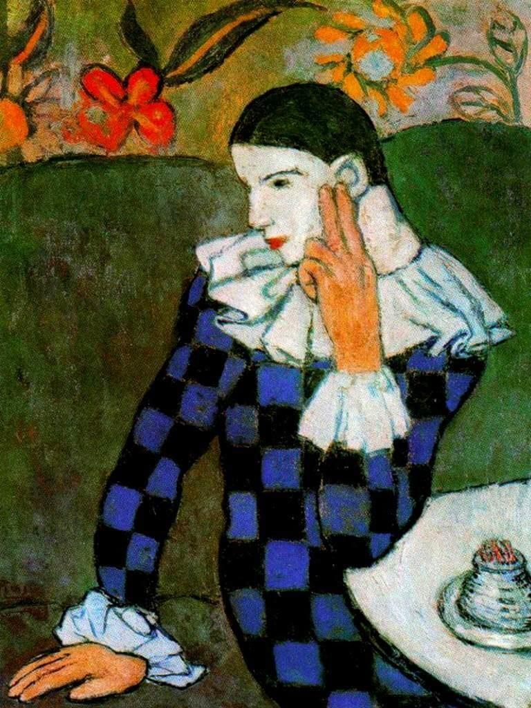 Periodo azul de Picasso, Arlequín pensativo, 1901.