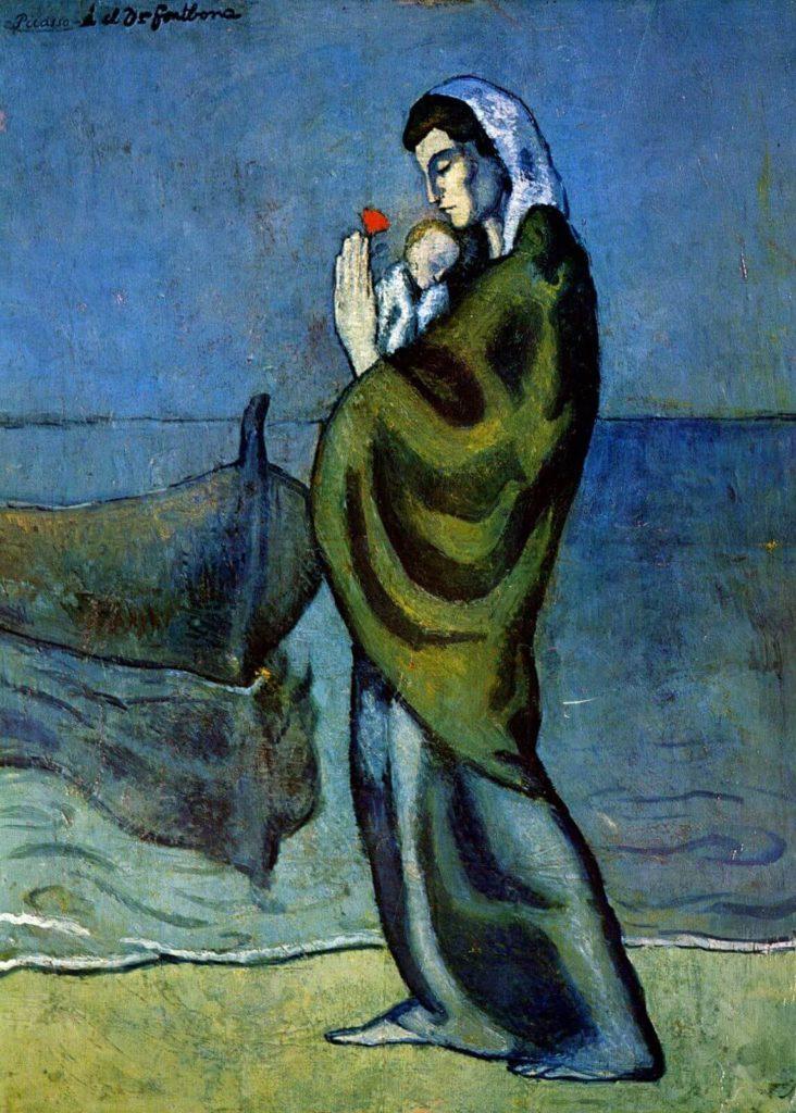 Periodo azul de Picasso, Madre e hijo en la orilla del mar, 1902.