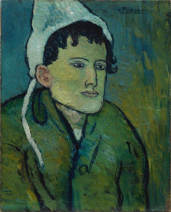 Periodo azul de Picasso, Mujer de la cofia, París, 1901, 41×33 cm.