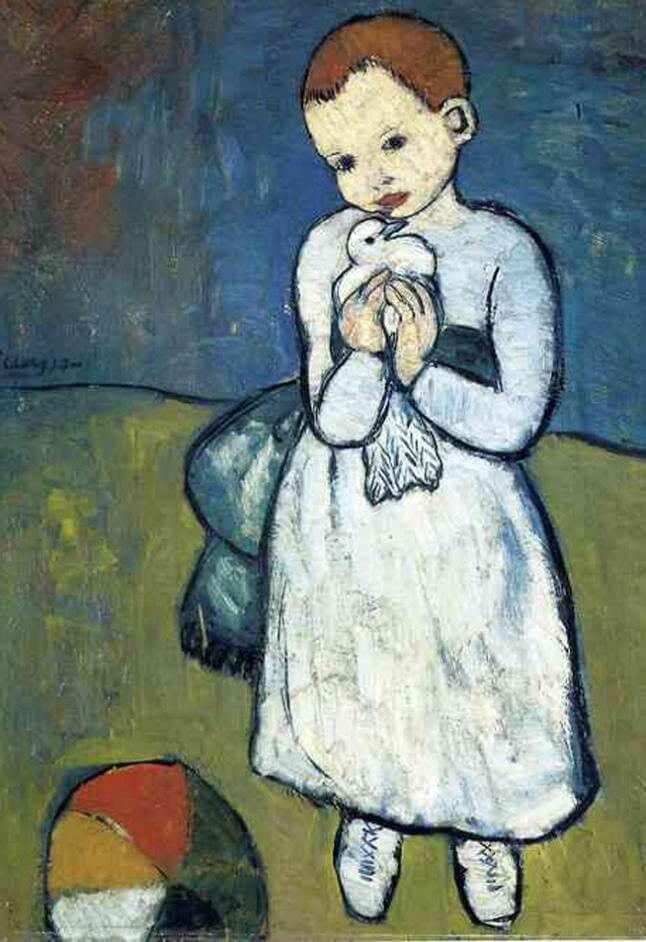 Periodo azul de Picasso, Niña con una paloma, 1901. National Gallery, Londres.