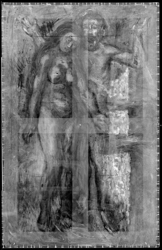 Radiografía de la obra de Picasso, Azoteas de Barcelona, 1903. Bajo la pintura ha aparecido una pareja que presenta muchas similitudes con la de la obra La vida.