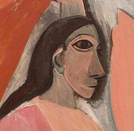 Las señoritas de Avignon. Picasso, detalle del rostro de perfil de la mujer del lado izquierdo