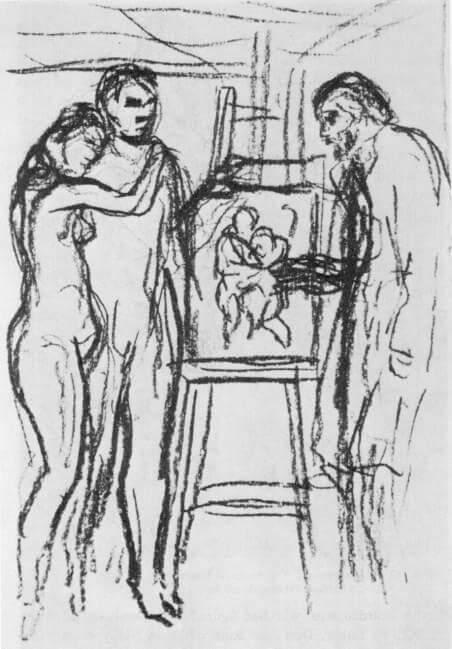 Periodo azul de Picasso, boceto preliminar para La vida.