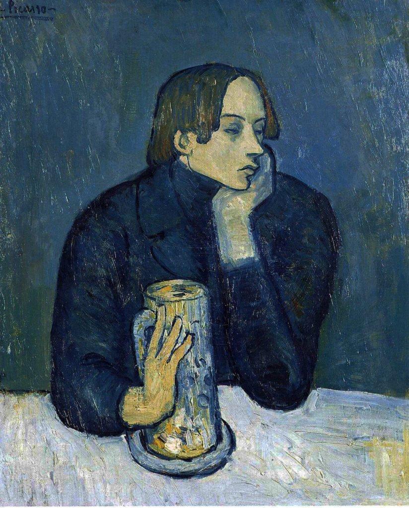 Picaso, La cerveza (retrato de Jaume Sabartés), 82×66 cm. 1901. Museo Pushkin, Moscú. Rusia.