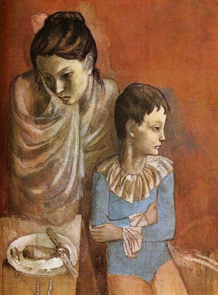 Época Rosa Picasso,Madre e hijo (saltimbanquis) (ca. 1904-1905).
