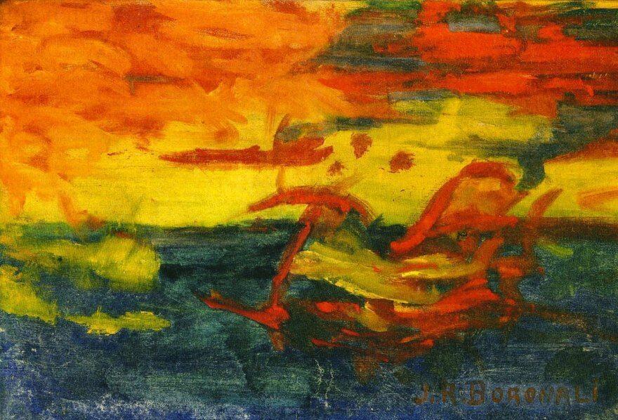 """Joachim Raphael Boronali (el burro Lolo), """"Coucher du soleil sur l'Adriatique""""."""
