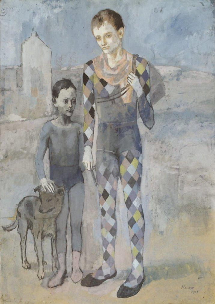 Época Rosa Picasso, Dos jóvenes acróbatas con perro, 1905.