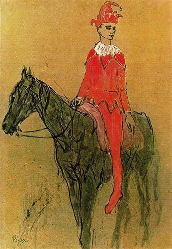 Época Rosa Picasso, Arlequín a caballo, 1905.