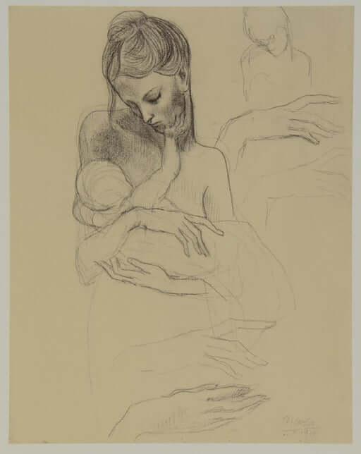 Periodo Rosa de Picasso, Madre con niño, 1904.