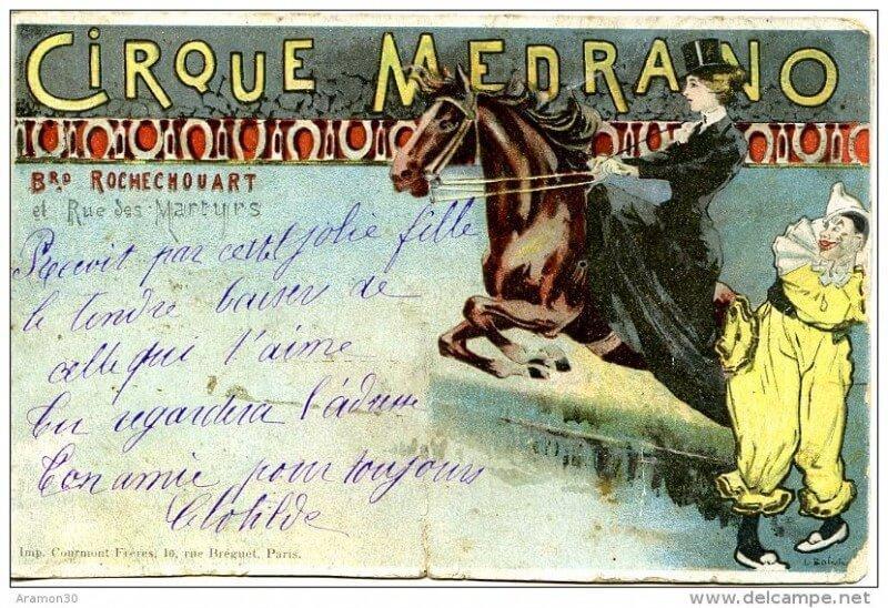 """Época Rosa Postal anunciando el """"Cirque Medrano"""""""