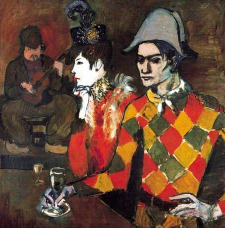 """Picasso, Picasso disfrazado de arlequín en el """"Le Lapin Agile"""", 1905."""
