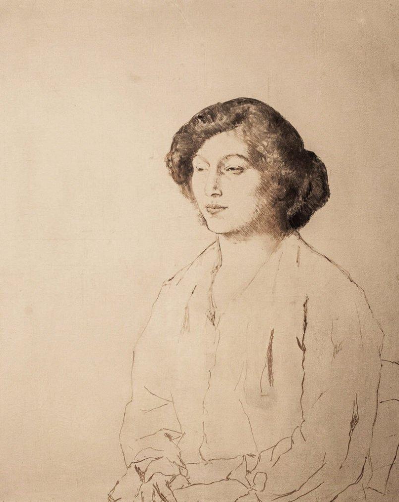 Época Rosa Picasso, Dibujo de mujer (Fernande Olivier), 1906.