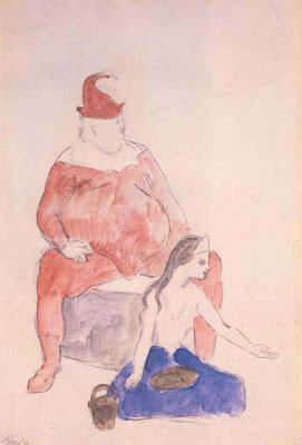 Época Rosa Picasso, Bufón sentado y muchacha acróbata, 1905.