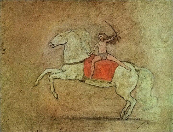 Periodo Rosa de Picasso, Muchacha sobre un caballo, 1905.