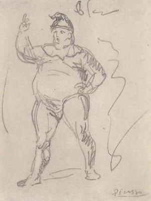 Época Rosa Picasso, Bufón Obeso como comediante, 1905.