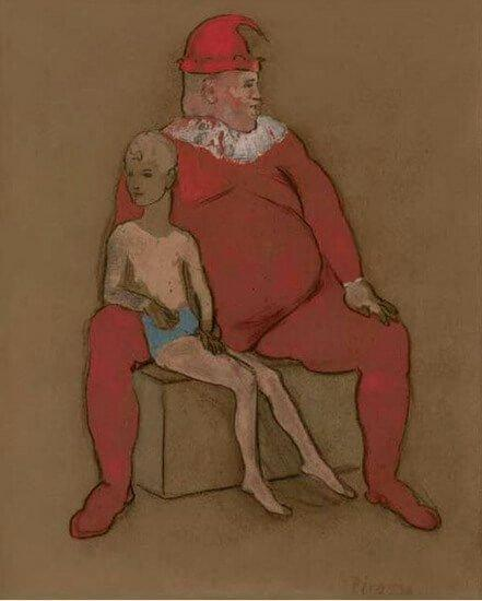 Época Rosa Picasso, Bufón y joven acróbata, 1905.