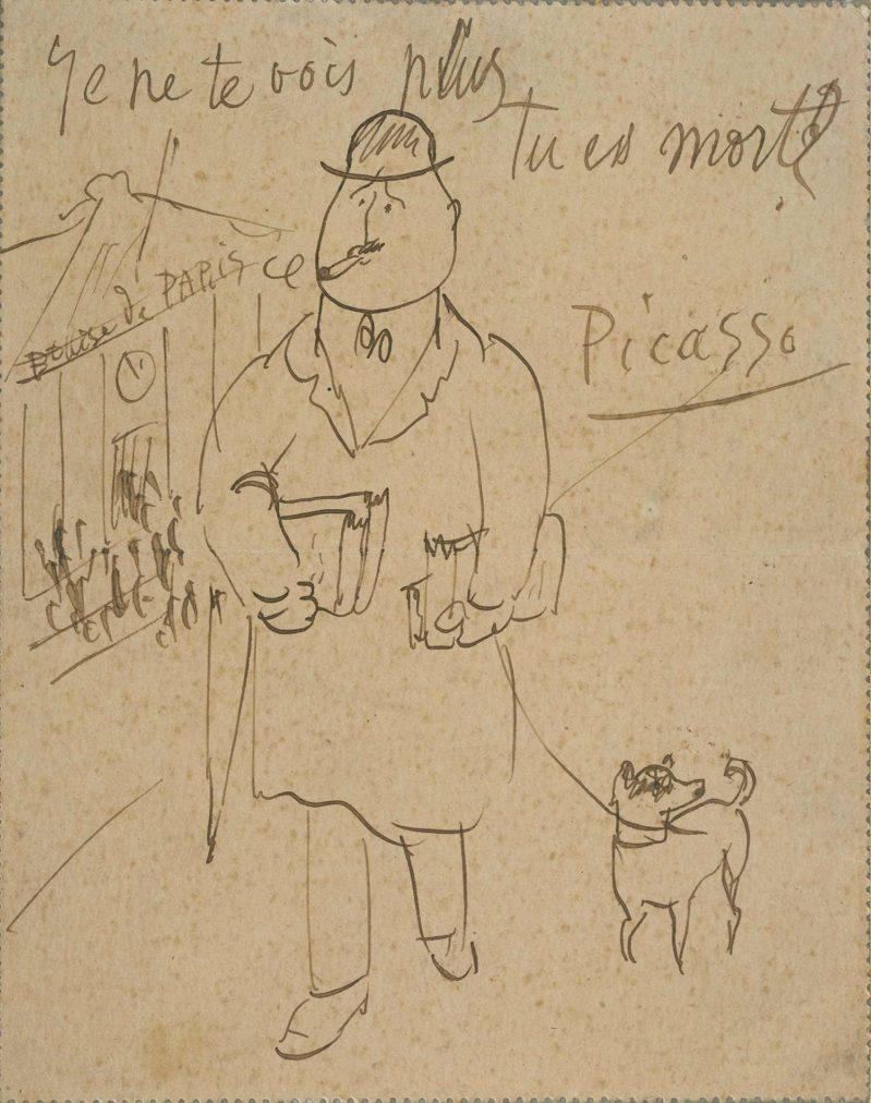 Época Rosa Picasso, Guillaume Apollinaire, empleado de banca, París, 6 de diciembre de 1905. Lápiz y tinta sobre papel.