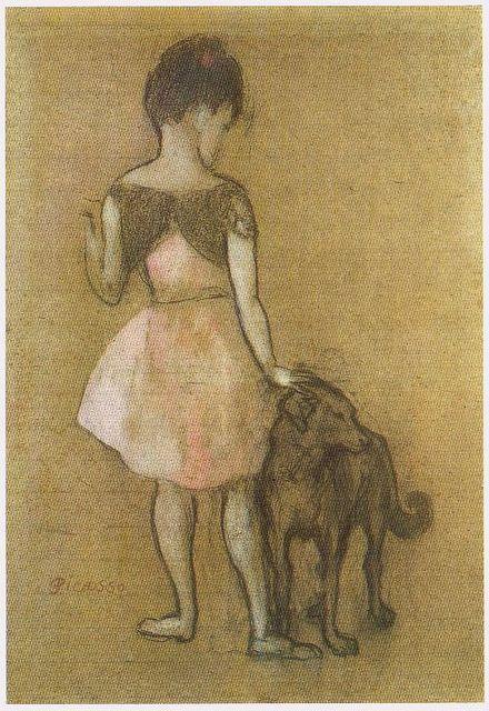 Periodo Rosa de Picasso, Niña con perro, 1905.
