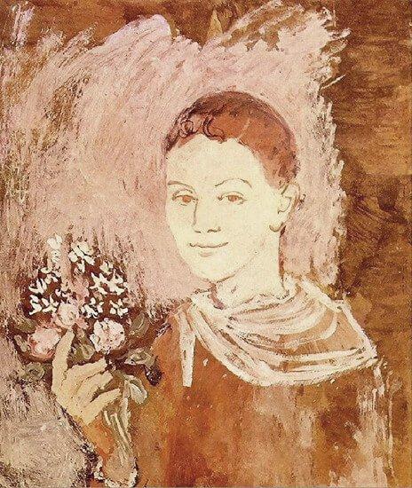Época Rosa Picasso, Muchacho con ramo de flores, 1905.