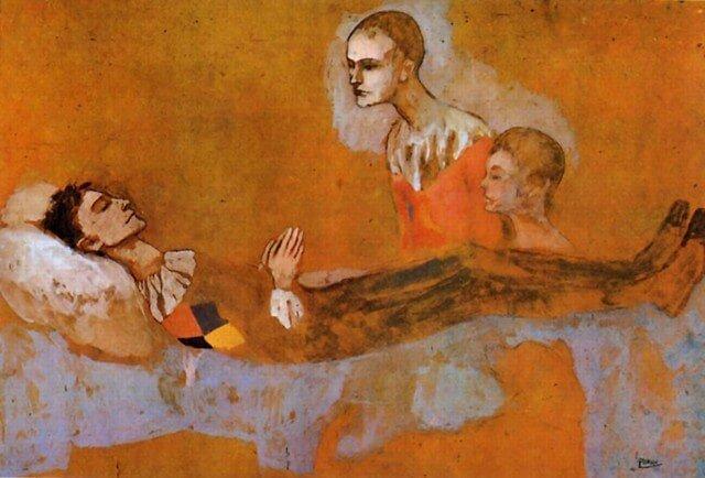 Época Rosa Picasso, La muerte del arlequín, 1905/1906.