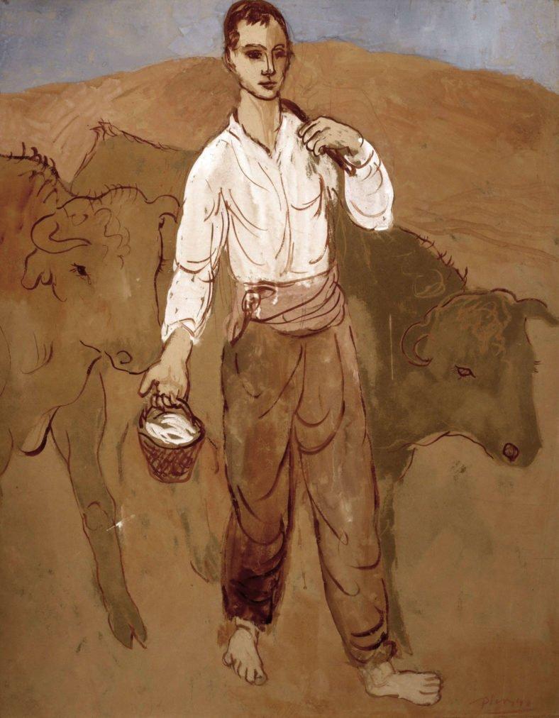 Época Rosa Pablo Picasso, Joven con ganado, 1906.