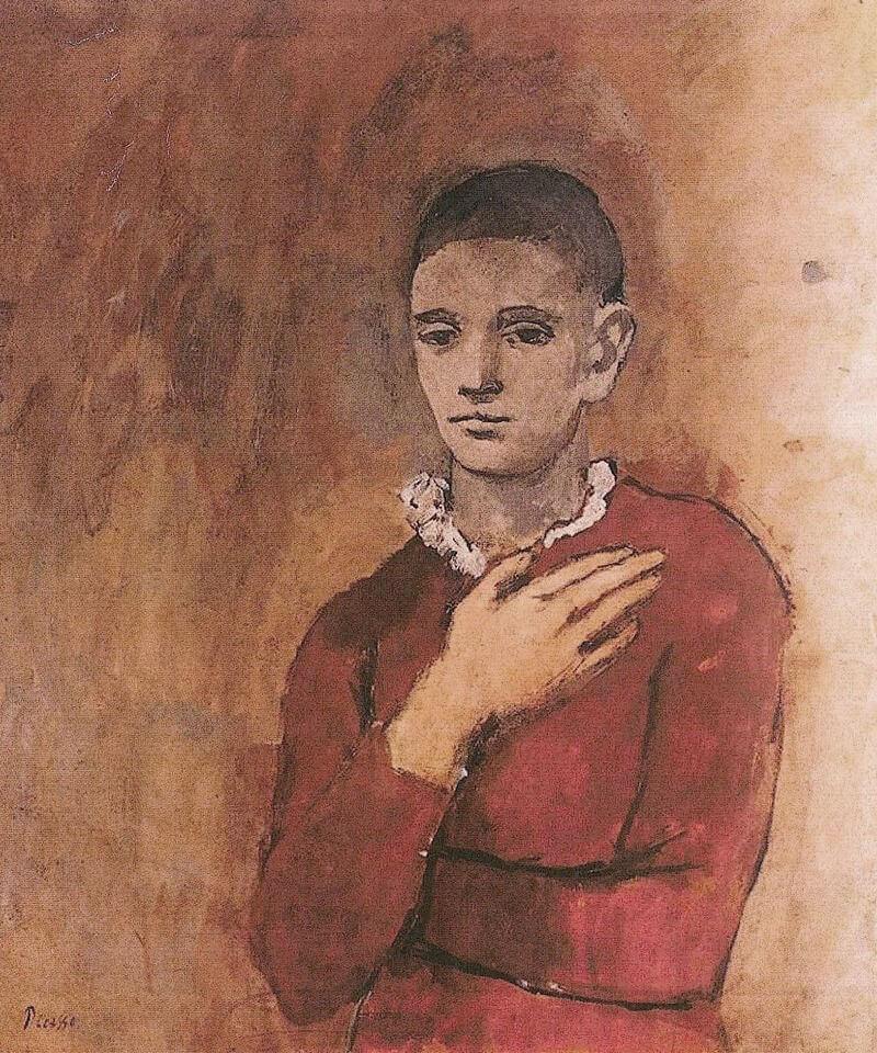 Época Rosa Picasso, Garcon a la Collerette, 1905.