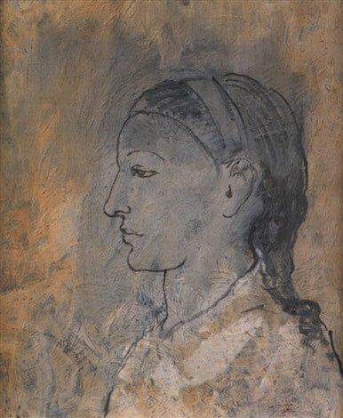 Época Rosa Picasso, Cabeza de mujer con el perfil de Fernande Olivier, 1906.