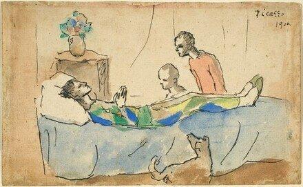 Época Rosa Picasso, La muerte del arlequín, 1906.