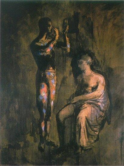 Época Rosa Picasso, Arlequín maquillándose, 1905.