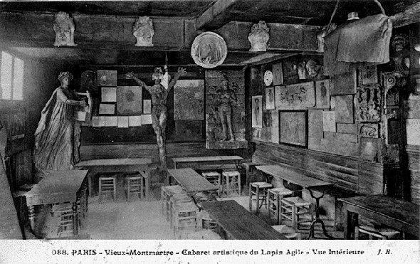 """Interior del cabaret artístico, el """"Lapin Agile""""."""