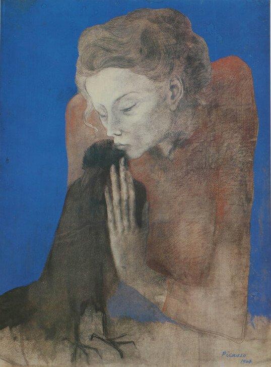 Picasso, La muchacha de la corneja (Periodo Azul), 1904.