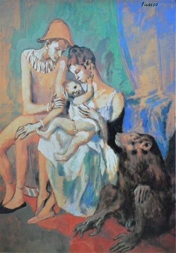 Época Rosa Picasso, Familia de acróbatas con mono, 1905.