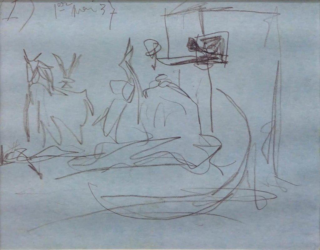 "1. Estudio para ""Guernica"". 1 de mayo de 1937. 210x269 mm. Grafito sobre papel azul."
